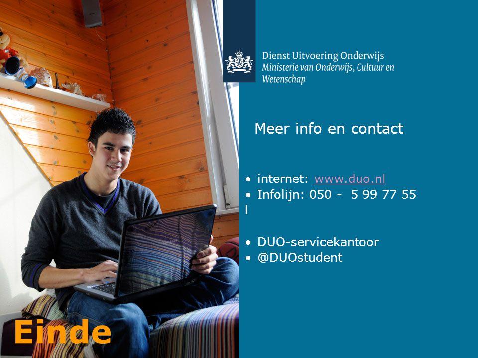 Einde Meer info en contact internet: www.duo.nl