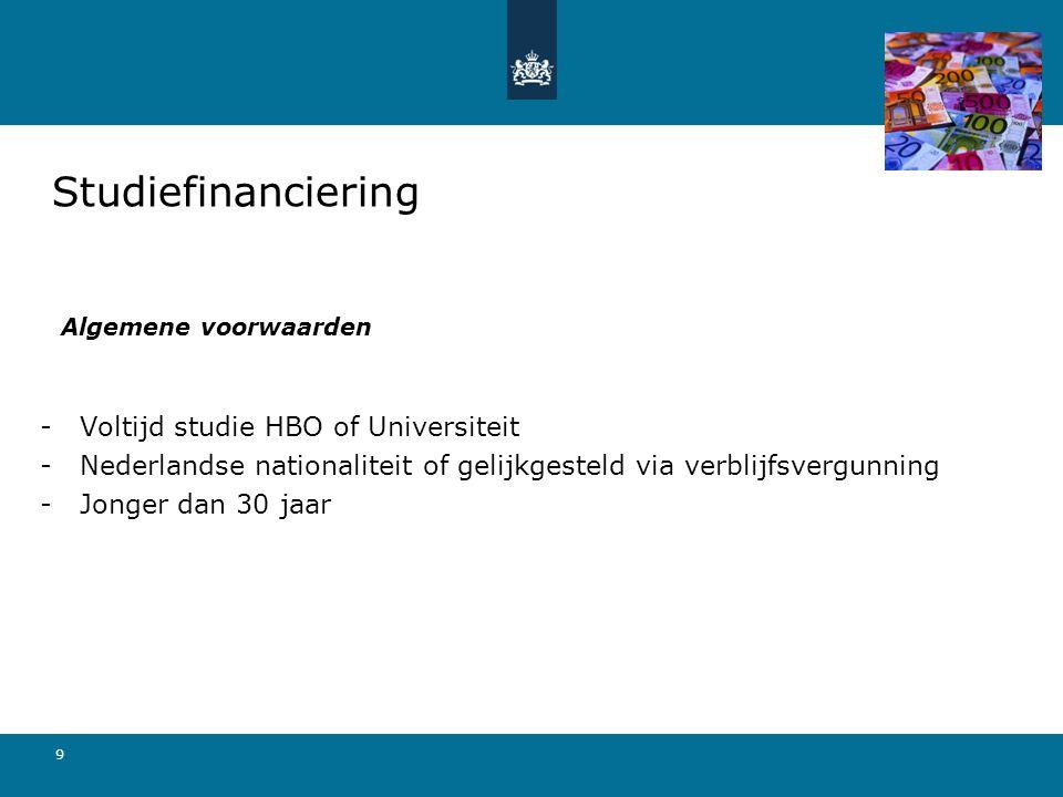 Studiefinanciering Voltijd studie HBO of Universiteit