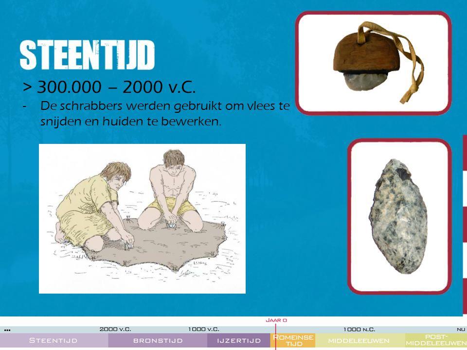 > 300.000 – 2000 v.C. De schrabbers werden gebruikt om vlees te snijden en huiden te bewerken.