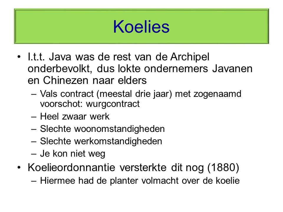 Koelies I.t.t. Java was de rest van de Archipel onderbevolkt, dus lokte ondernemers Javanen en Chinezen naar elders.
