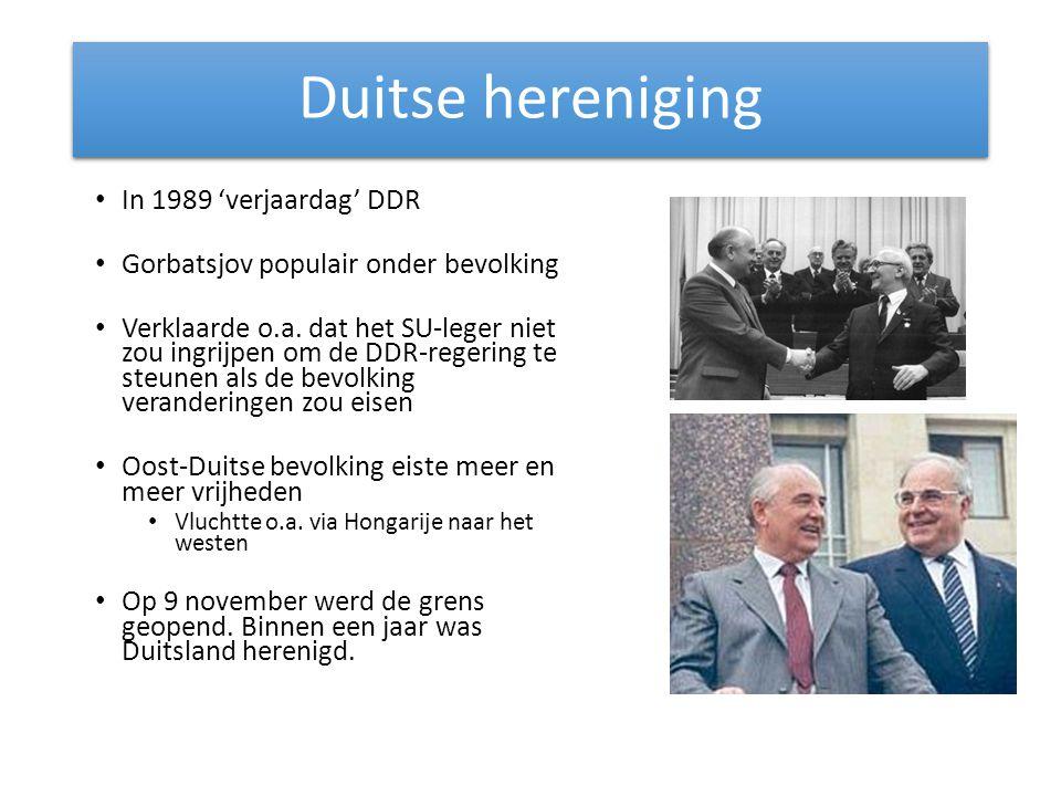 Duitse hereniging In 1989 'verjaardag' DDR