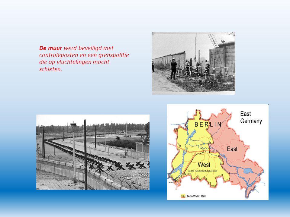 De muur werd beveiligd met controleposten en een grenspolitie die op vluchtelingen mocht schieten.