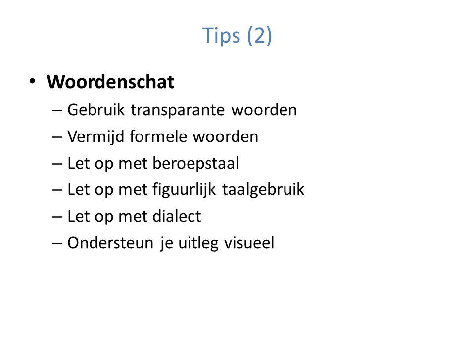 Tips (2) Woordenschat Gebruik transparante woorden