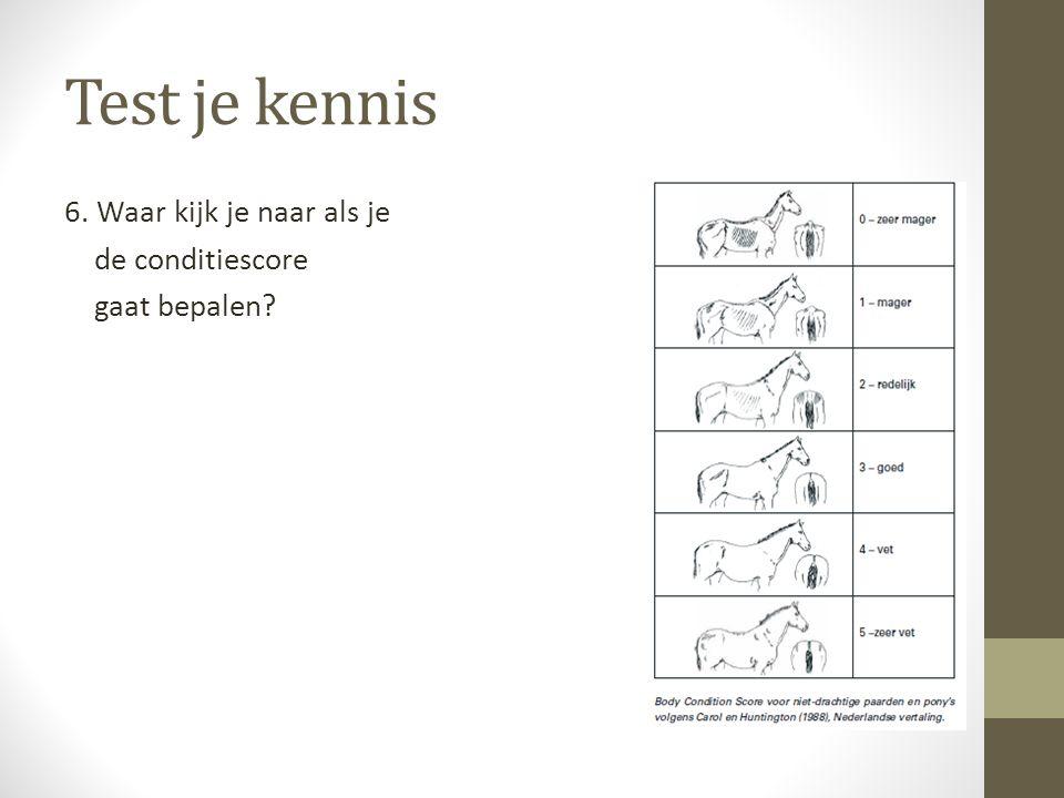 Test je kennis 6. Waar kijk je naar als je de conditiescore gaat bepalen De lichaamsconditie van het paard wordt beoordeeld aan.