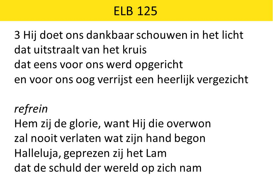 ELB 125 3 Hij doet ons dankbaar schouwen in het licht