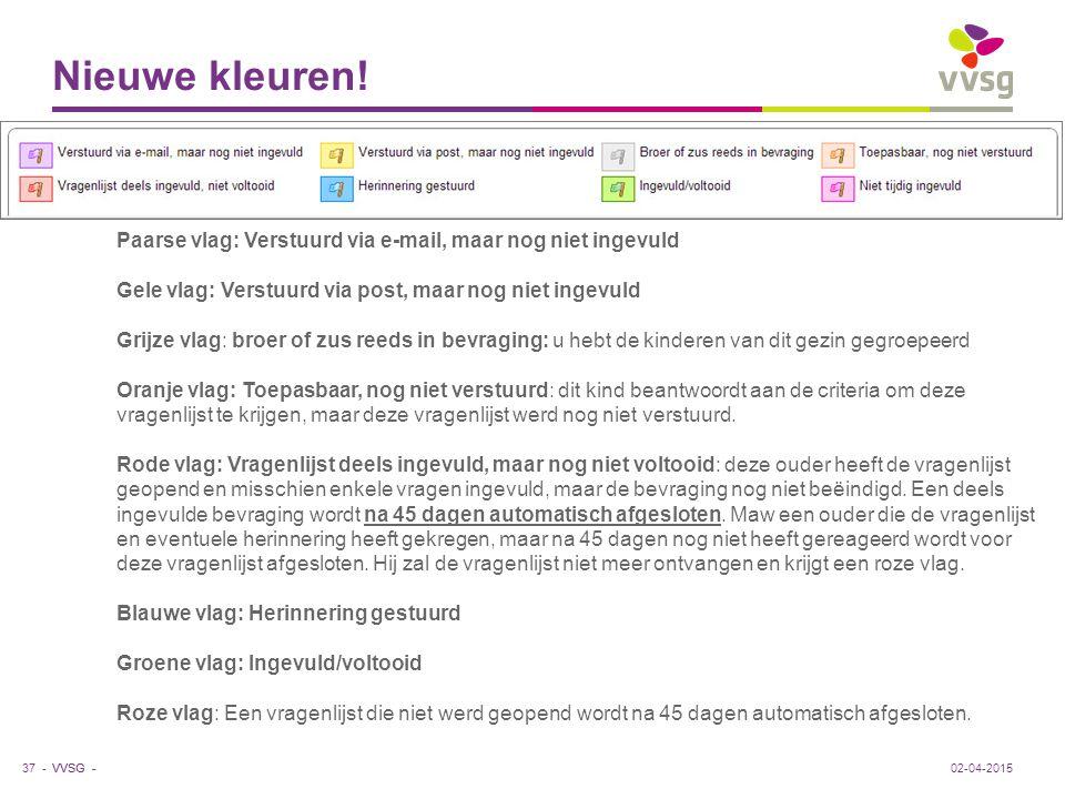 Nieuwe kleuren! Paarse vlag: Verstuurd via e-mail, maar nog niet ingevuld. Gele vlag: Verstuurd via post, maar nog niet ingevuld.
