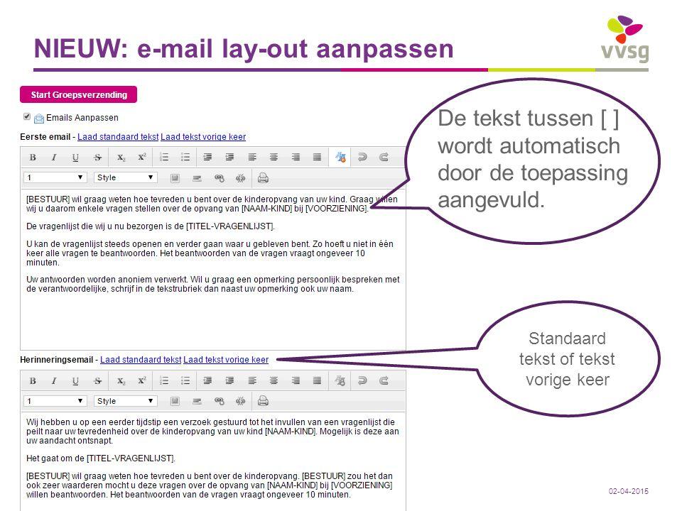 NIEUW: e-mail lay-out aanpassen