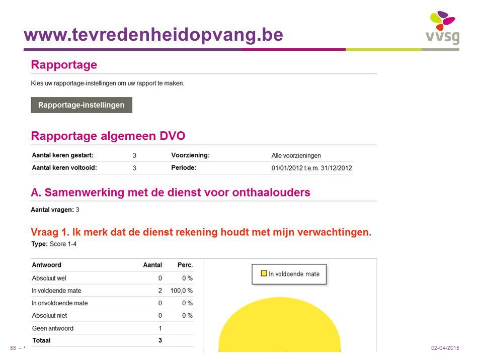 www.tevredenheidopvang.be Rapportage 02-04-2015