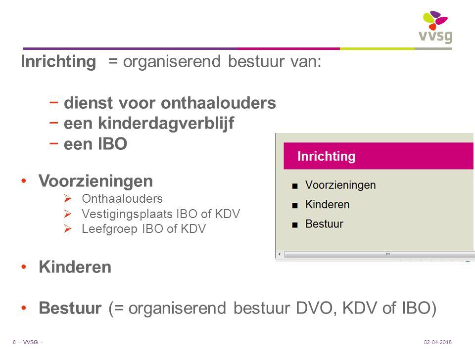 Inrichting = organiserend bestuur van: dienst voor onthaalouders