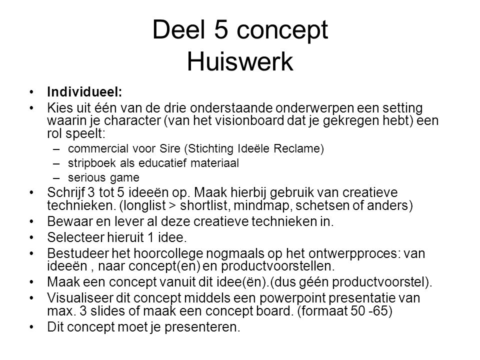 Deel 5 concept Huiswerk Individueel: