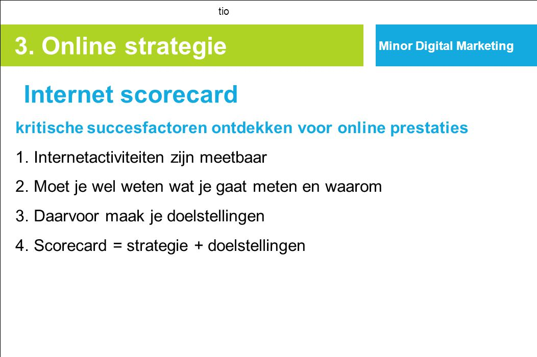 3. Online strategie Internet scorecard