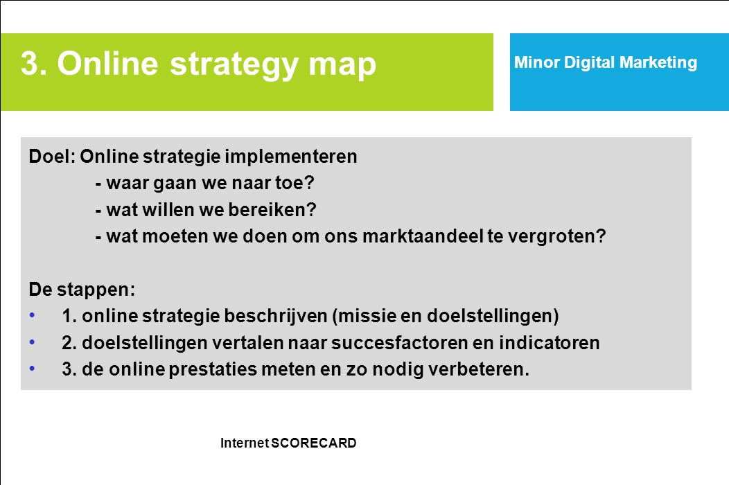 3. Online strategy map Doel: Online strategie implementeren