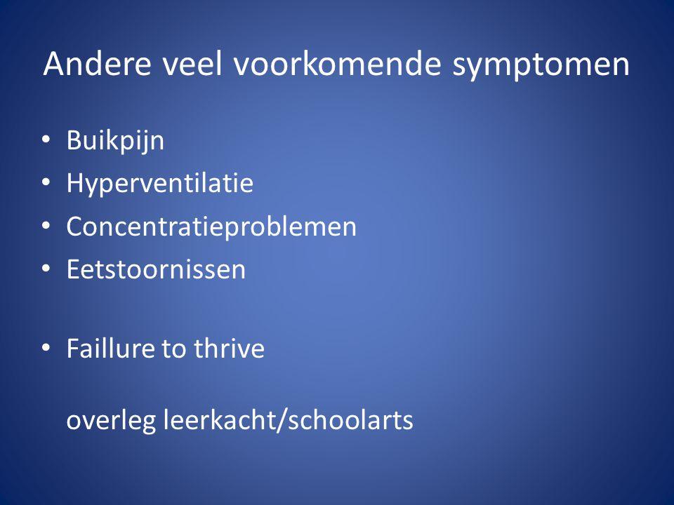 Andere veel voorkomende symptomen