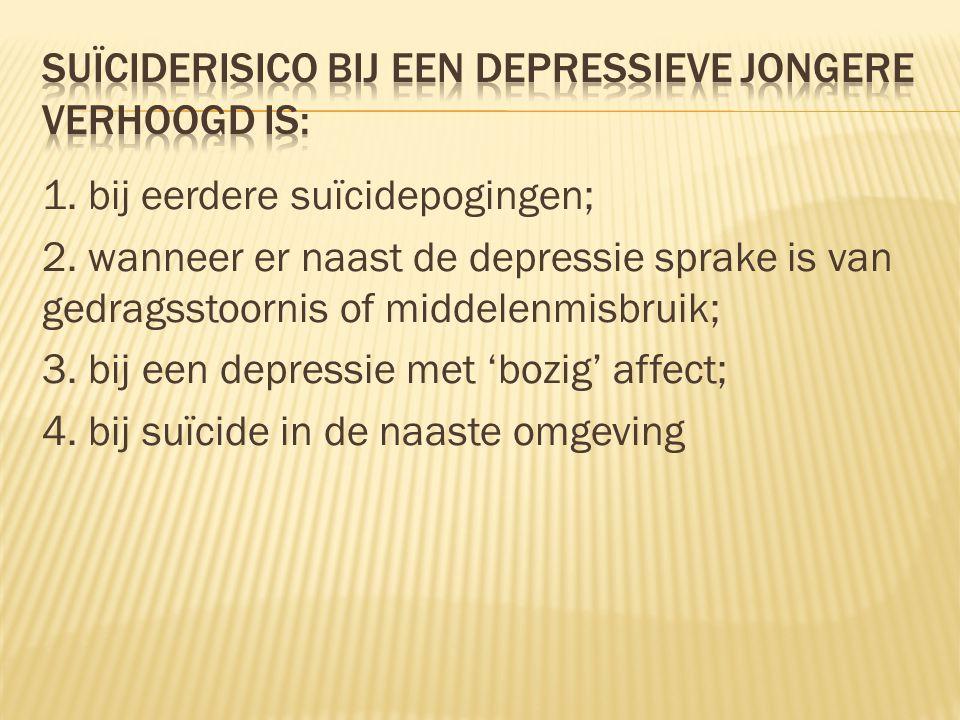 suïciderisico bij een depressieve jongere verhoogd is: