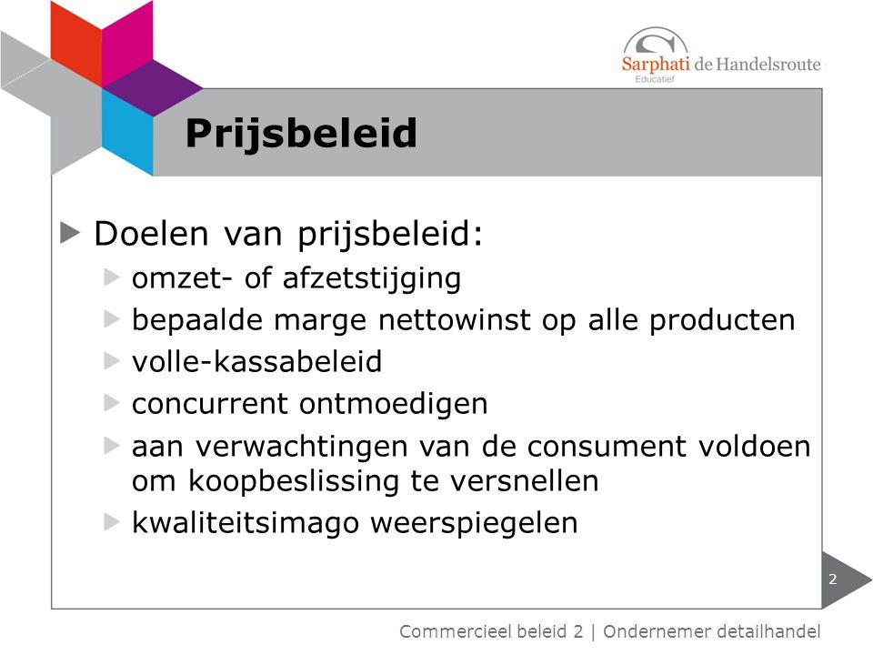 Prijsbeleid Doelen van prijsbeleid: omzet- of afzetstijging