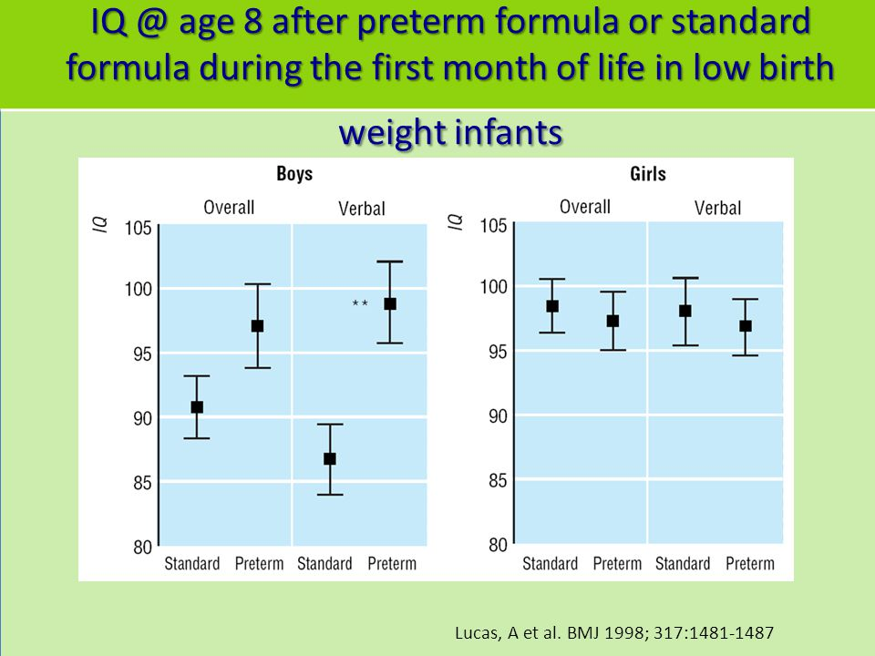 IQ @ age 8 after preterm formula or standard formula during the first month of life in low birth weight infants