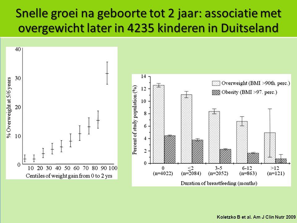 Snelle groei na geboorte tot 2 jaar: associatie met overgewicht later in 4235 kinderen in Duitseland