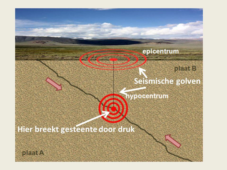 Seismische golven Hier breekt gesteente door druk