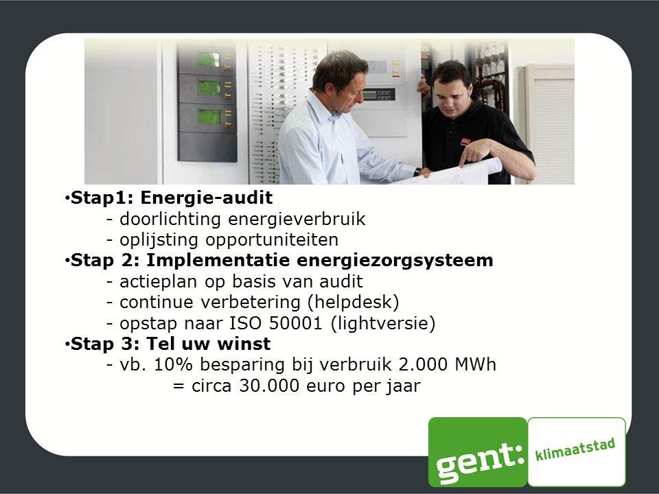 Stap1: Energie-audit - doorlichting energieverbruik. - oplijsting opportuniteiten. Stap 2: Implementatie energiezorgsysteem.