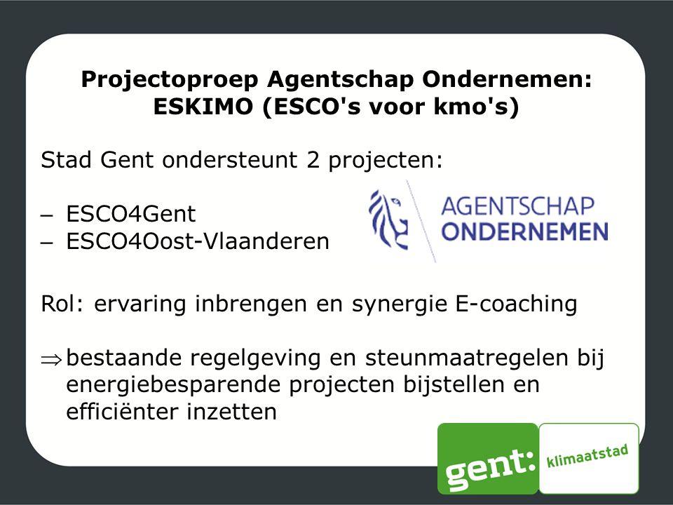 Projectoproep Agentschap Ondernemen: ESKIMO (ESCO s voor kmo s)