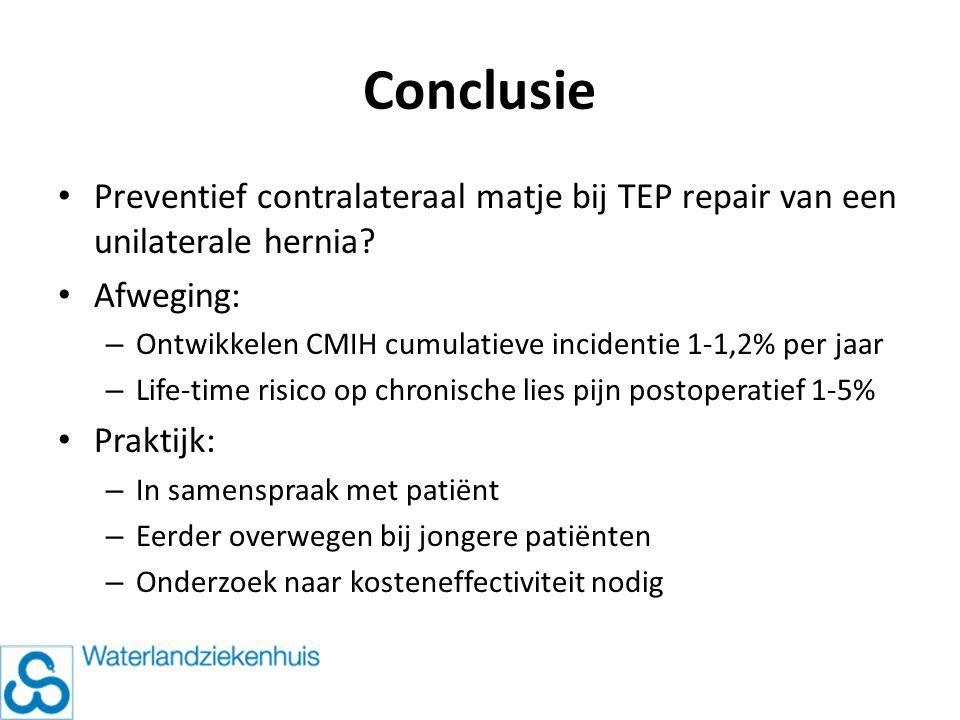 Conclusie Preventief contralateraal matje bij TEP repair van een unilaterale hernia Afweging: