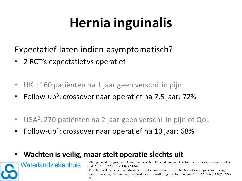 Hernia inguinalis Expectatief laten indien asymptomatisch