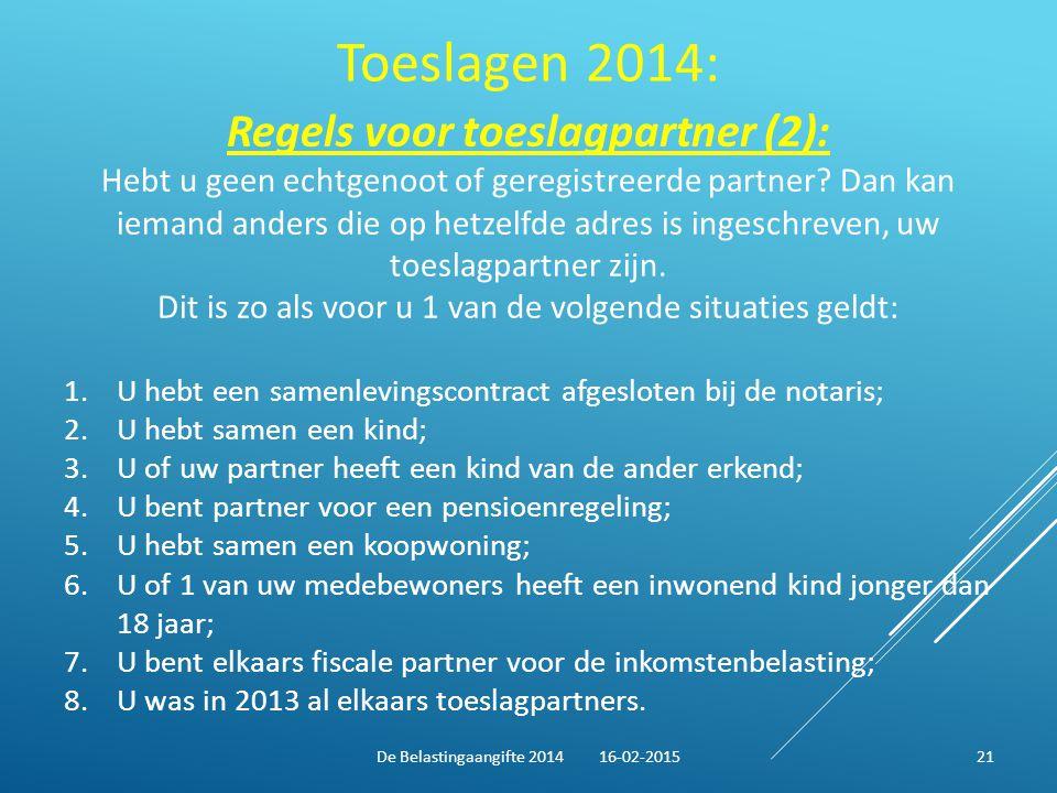 Toeslagen 2014: Regels voor toeslagpartner (2):