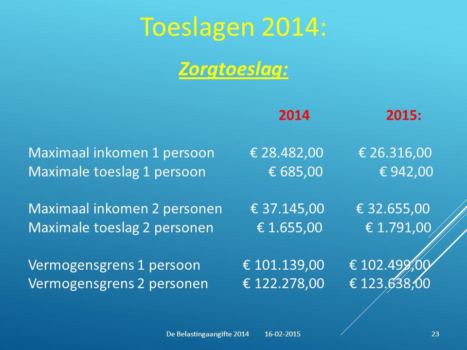 De Belastingaangifte 2014 16-02-2015