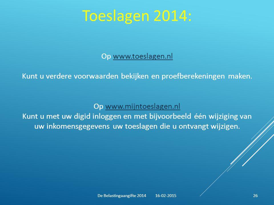 Toeslagen 2014: Op www.toeslagen.nl