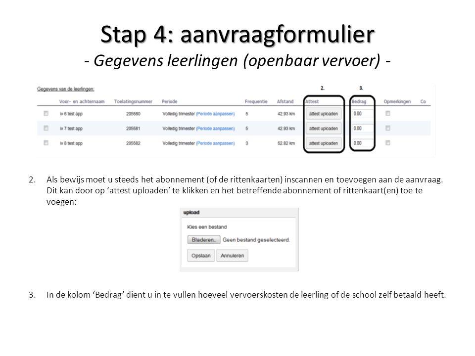 Stap 4: aanvraagformulier - Gegevens leerlingen (openbaar vervoer) -