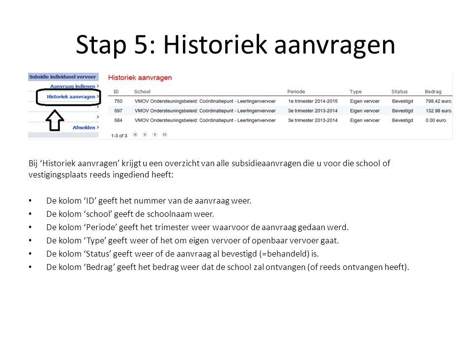 Stap 5: Historiek aanvragen