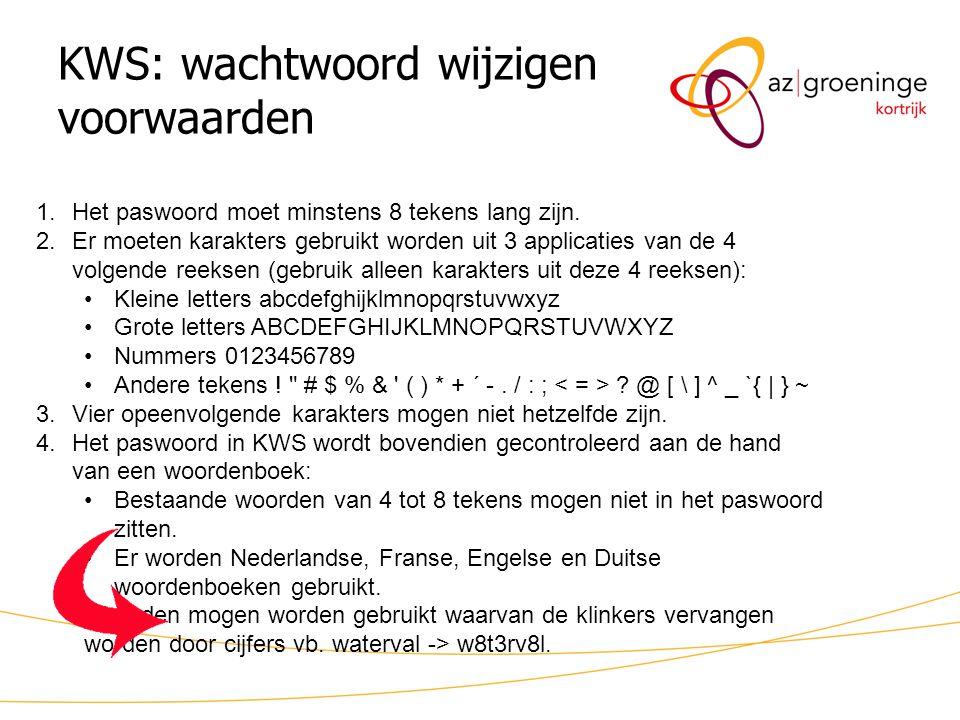 KWS: wachtwoord wijzigen voorwaarden