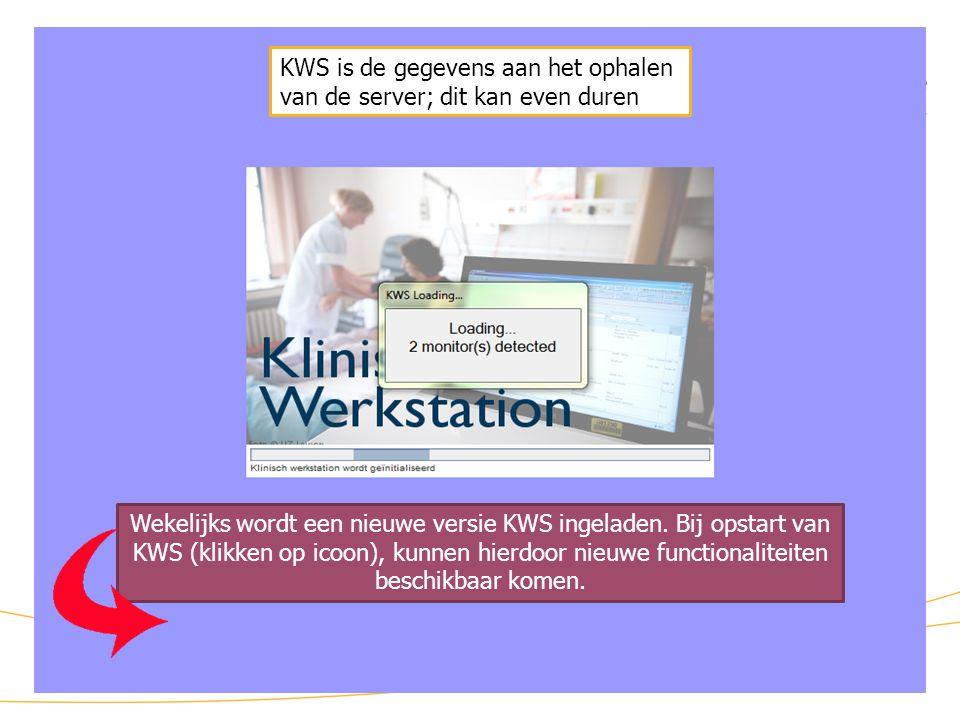 KWS: opstart KWS is de gegevens aan het ophalen van de server; dit kan even duren.