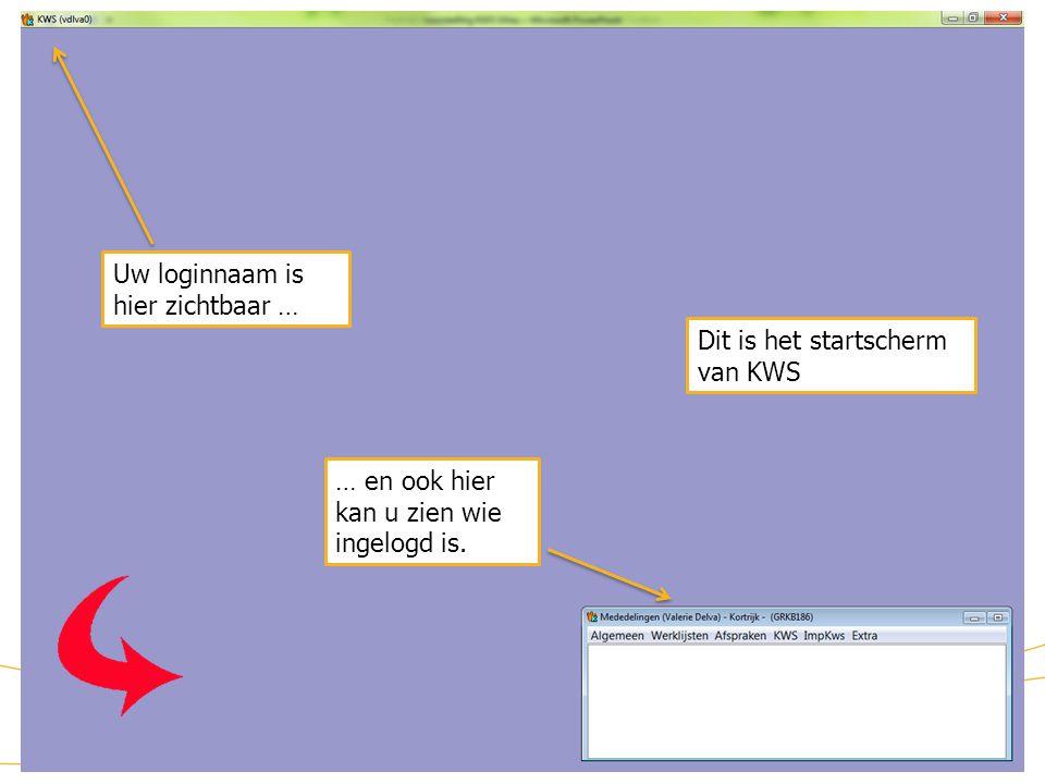 KWS: startscherm Uw loginnaam is hier zichtbaar …
