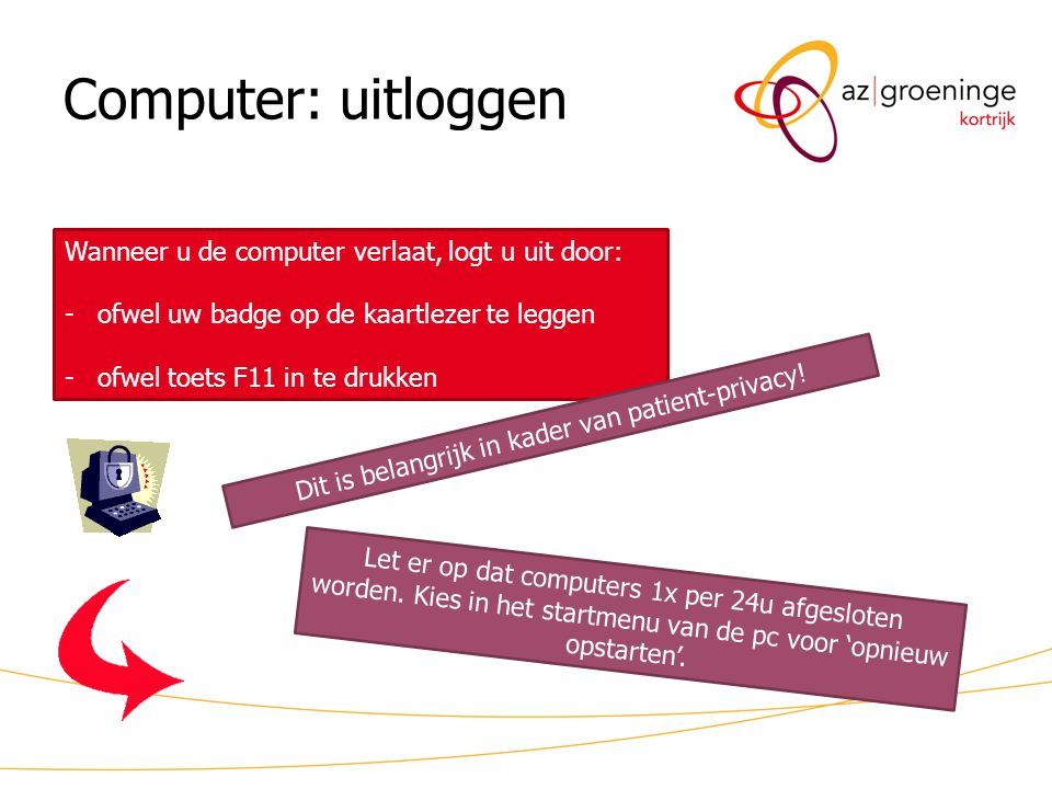 Dit is belangrijk in kader van patient-privacy!
