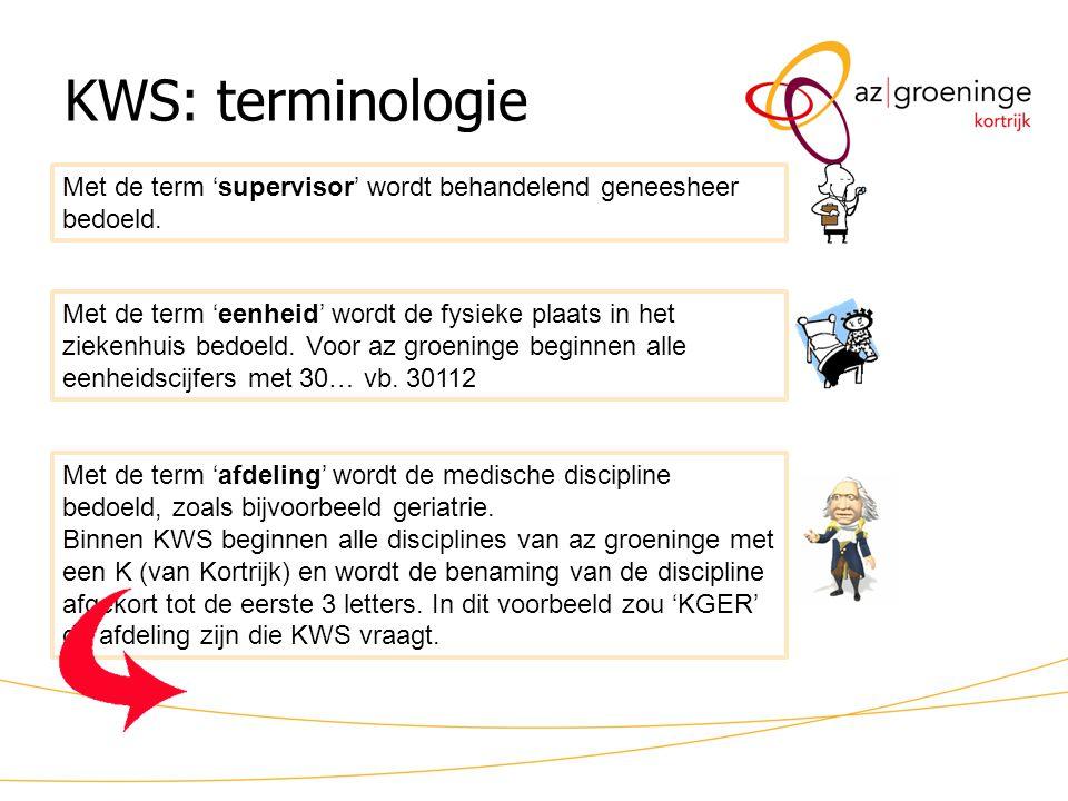 KWS: terminologie Met de term 'supervisor' wordt behandelend geneesheer bedoeld.