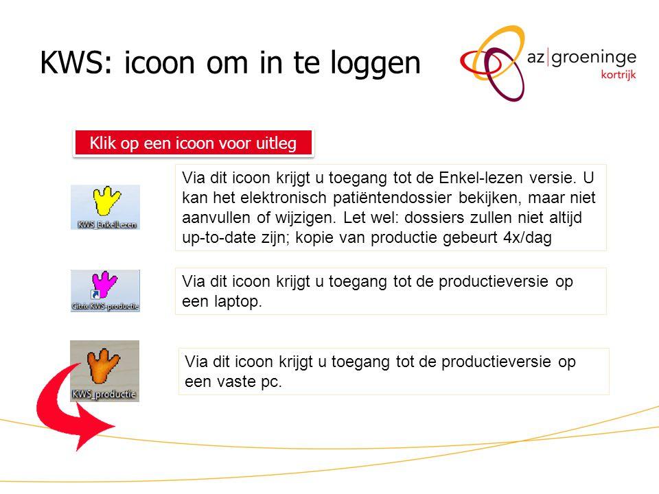 KWS: icoon om in te loggen