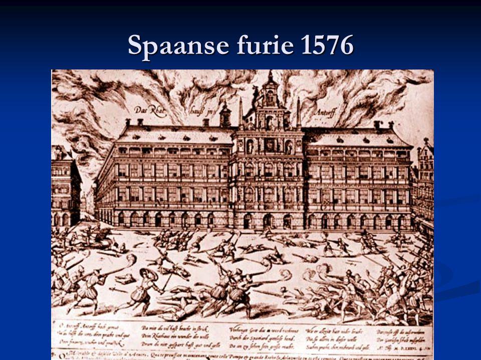 Spaanse furie 1576 Stadhuis van Antwerpen in brand tijdens Spaanse furie 1576