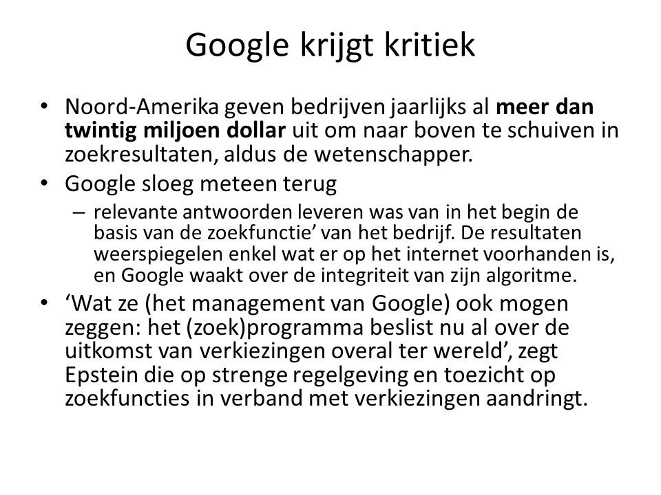 Google krijgt kritiek