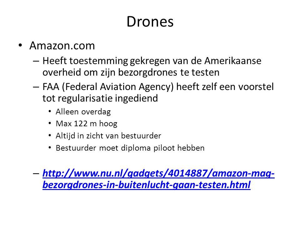Drones Amazon.com. Heeft toestemming gekregen van de Amerikaanse overheid om zijn bezorgdrones te testen.