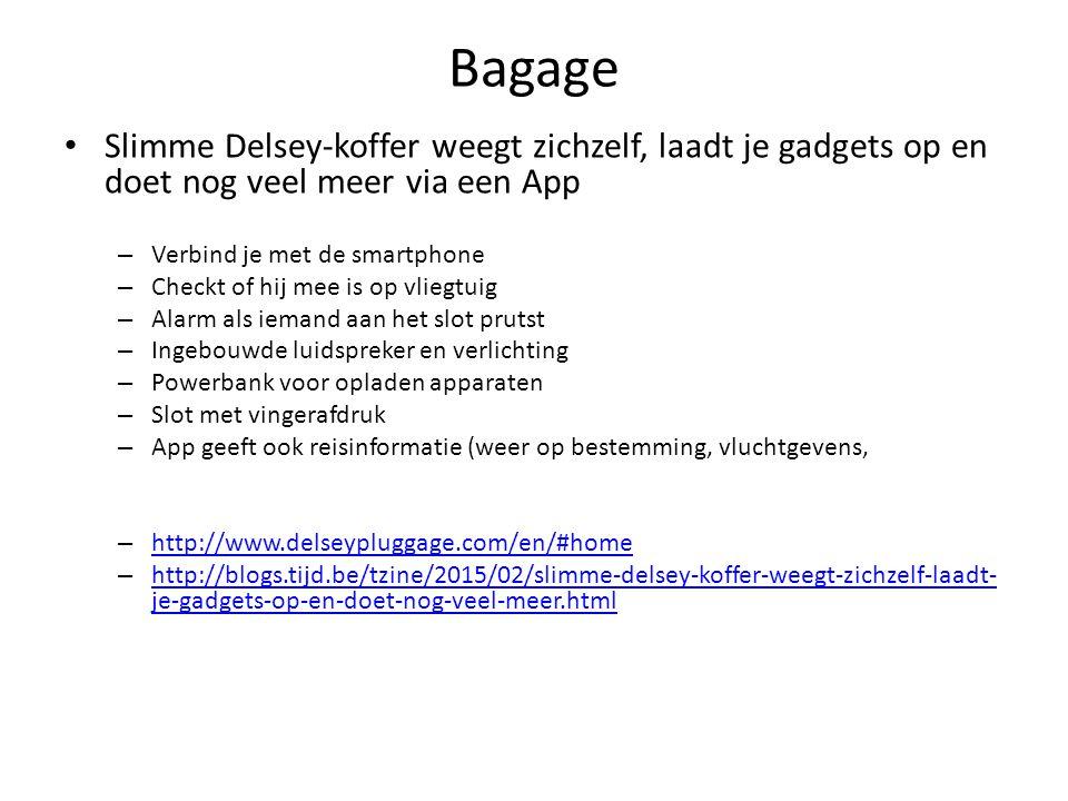 Bagage Slimme Delsey-koffer weegt zichzelf, laadt je gadgets op en doet nog veel meer via een App. Verbind je met de smartphone.