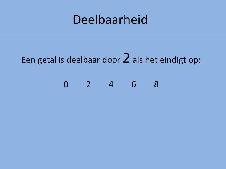 Een getal is deelbaar door 2 als het eindigt op: