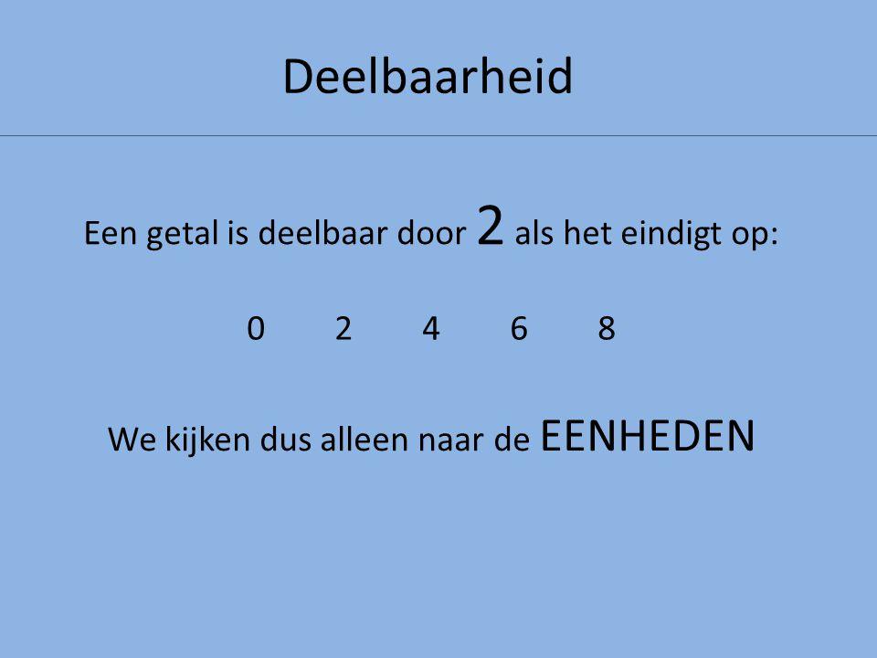 Deelbaarheid Een getal is deelbaar door 2 als het eindigt op: