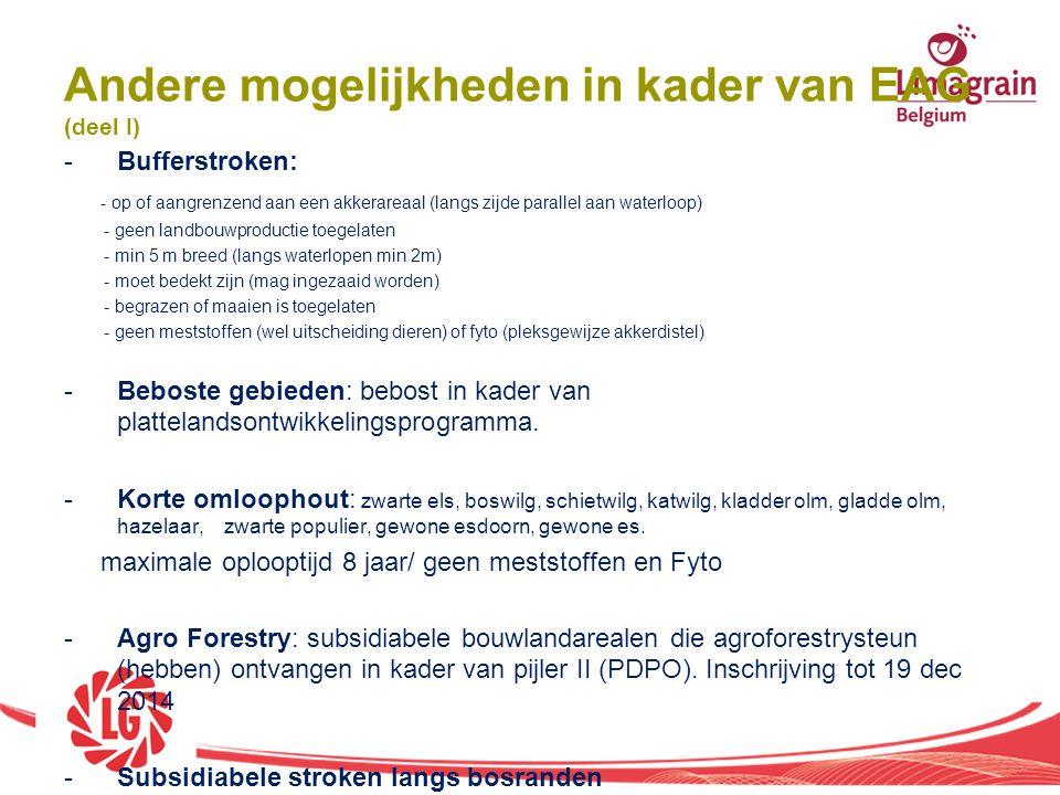 Andere mogelijkheden in kader van EAG (deel I)