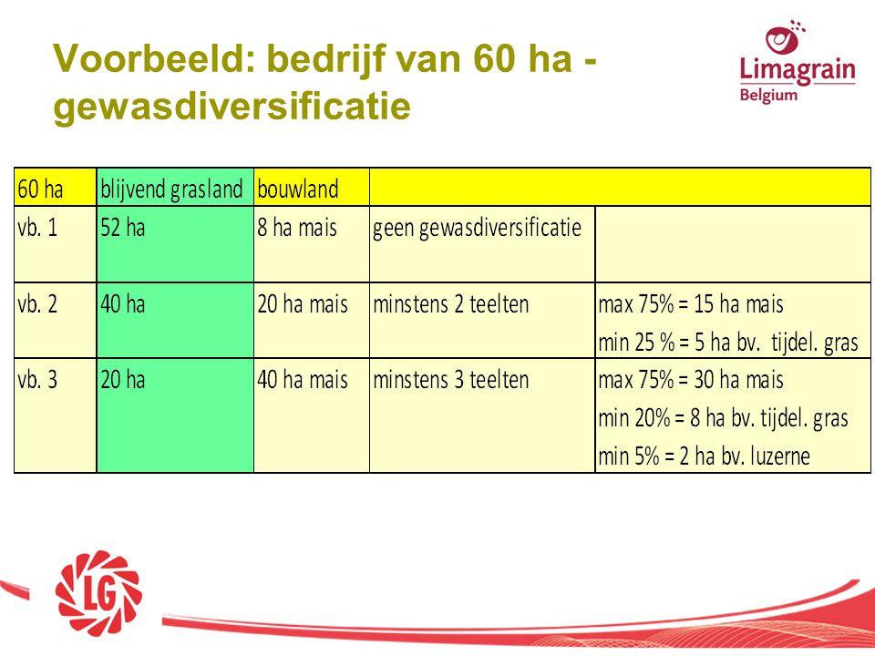 Voorbeeld: bedrijf van 60 ha - gewasdiversificatie