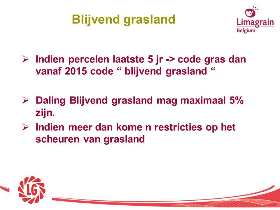 Blijvend grasland Indien percelen laatste 5 jr -> code gras dan vanaf 2015 code blijvend grasland