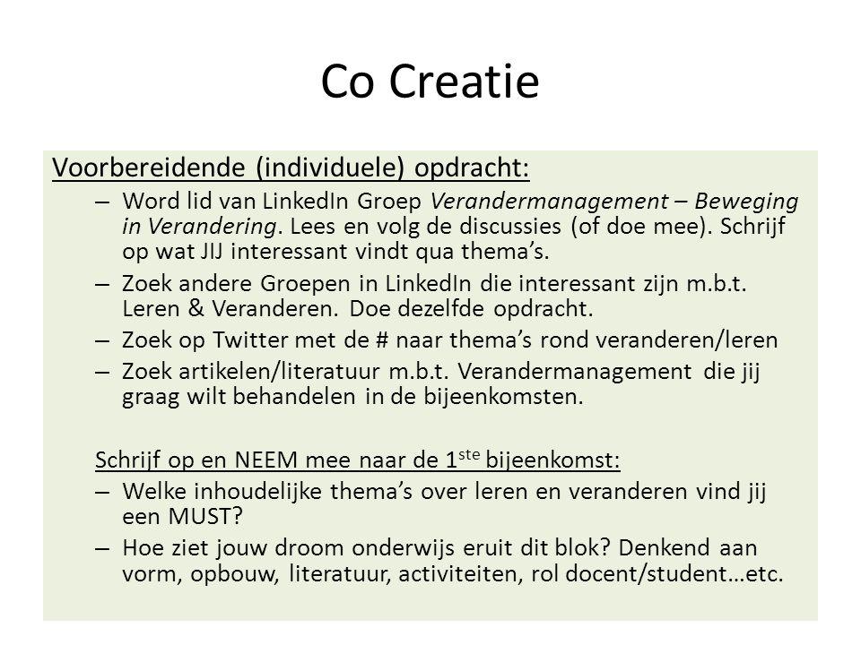 Co Creatie Voorbereidende (individuele) opdracht: