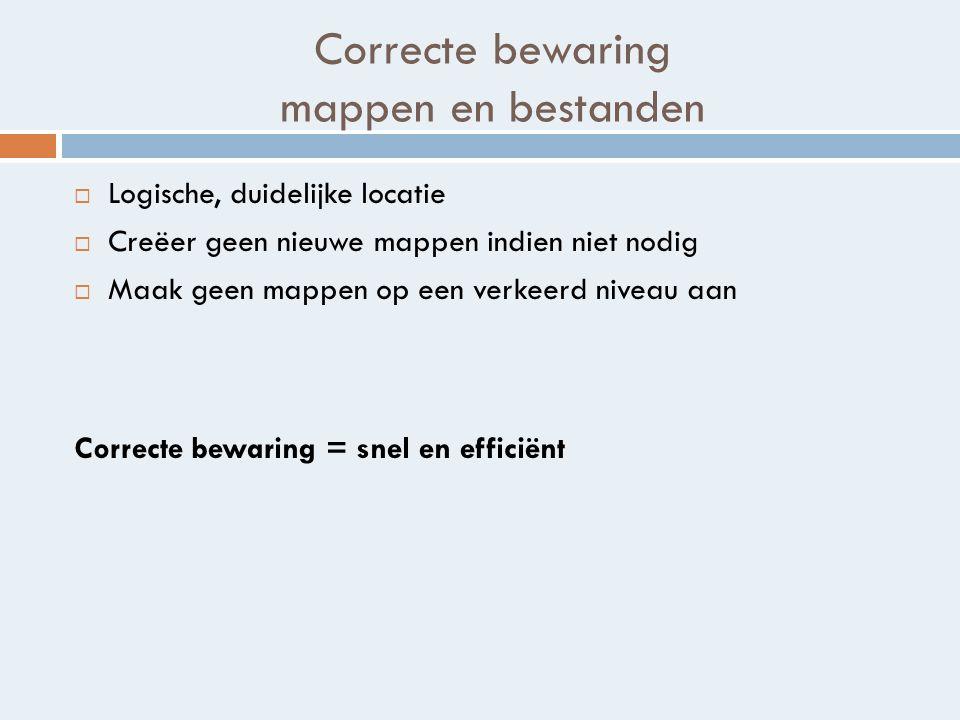 Correcte bewaring mappen en bestanden