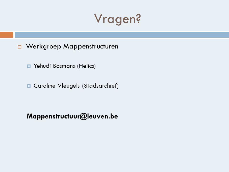 Vragen Werkgroep Mappenstructuren Mappenstructuur@leuven.be