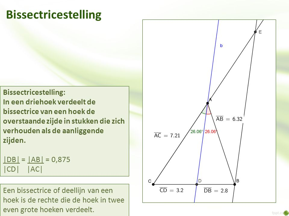Bissectricestelling Bissectricestelling: